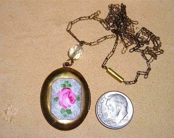 Vintage Guilloche Rose Solid Brass Locket Necklace 1940's Jewelry A57