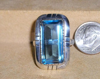 Vintage Large Sterling Silver Blue Topaz Finger Ring 1970's Size 8 3/4 Signed Jewelry 3036