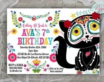 Day of the Dead Invitation- Dia De Los Muertos Invitation- Birthday Invitation- Halloween Invitation- Mexican Invitation- Cat-Printable 5x7