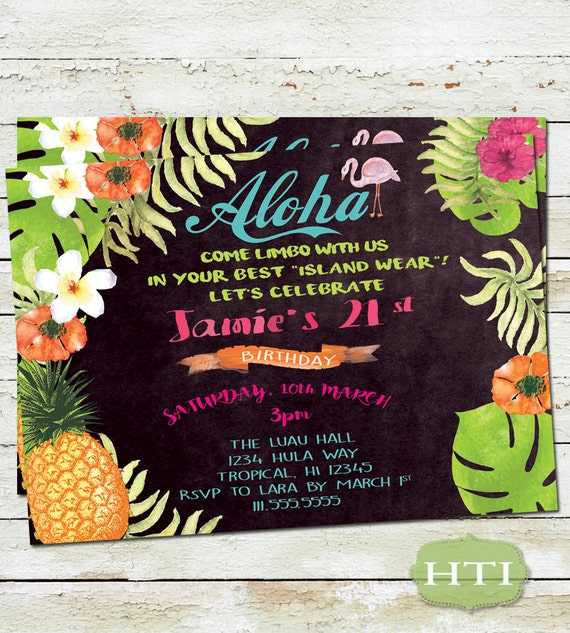 Luau Invitation Luau Birthday Invitation Chalkboard Aloha