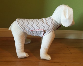 Fleece Coat & Flannel Dog Jacket, Extra Small, White, and Gray Chevron Cotton Flannel with Red Fleece Lining