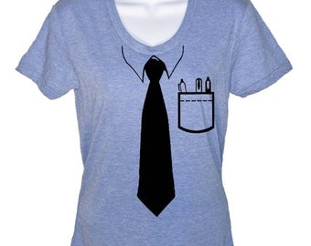 Womens Short Sleeve T-Shirt - Geeky Tie Tshirt - Nerd Business Tie Shirt - Gifts For Her - Casual Friday Tee - S M L Xl 2X