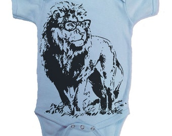 Lion Professor T Shirt Funny Baby Lion Bodysuit Animal Tees Lion in Glasses Baby Shirt Gifts For Newborn
