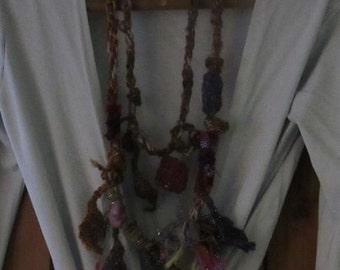 Artisan Statement Necklace Silk & Wool Crochet Felted Flower Eclectic Jewellery Fairy Jewelry Scarf Felt Natural Neckwarmer Lagenlook Scarf