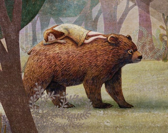 Giclee Print - The Girl and The Bear - Nursery Art - Children Decor - Home Decor - Wall Art