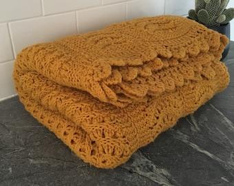 Vintage mustard yellow handmade throw blanket