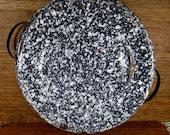 "Vintage Large 12-1/2"" Graniteware Black and White Speckled Mottled Pattern Double Handled Pan Basin Enamelware"