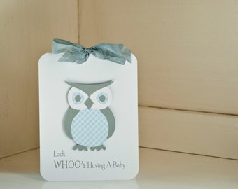Boy Baby Shower Invitations Owl Thank You Notes Blue and Gray Grey Gingham
