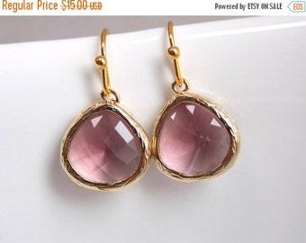 SALE Plum Earrings, Glass Earrings, Gold Earrings, Purple, Pink, Magenta, Bridesmaid Earrings, Bridal Earrings Jewelry, Bridesmaid Gifts