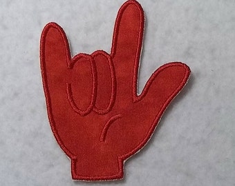 I Love You Sign Language (asl) - MADE to ORDER - Choose COLOR and Size - Tutu & Shirt Supplies - fabric Iron on Applique Patch z 7108