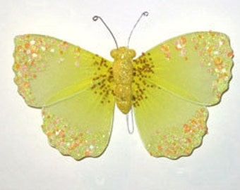 6 pc 8 Inch Nylon Butterfly w/Glitter (BF814) ON SALE Yellow Butterflies for Weddings, Parties, Fairy Wings, Costumes, Decorating