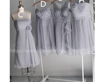2016 Mix Match Bridesmaid dress, Gray Wedding dress, Chiffon Mix Match Prom dress, Grey Formal Dress Short Legnth  (E002 Gray)