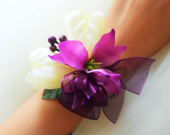 Ivory Tulips Wrist Corsage with Sangria Accent