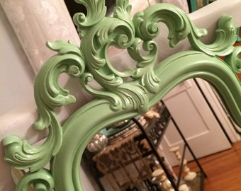 Ornate Oval pale green baby girl shabby nursery curvy vintage framed mirror