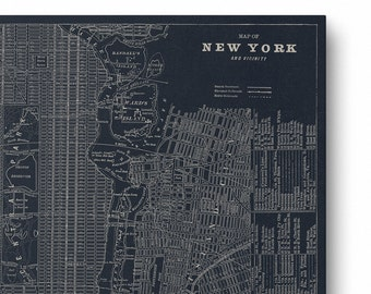 Canvas Wrap - New York City, Vintage Map, NYC Home Decor, New York Wall Art