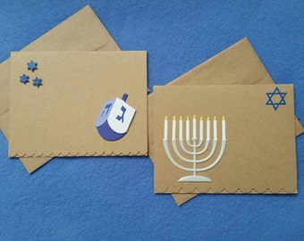 Two Hanukkah Blank Greeting Cards, recycled kraft paper with 3D glitter stickers