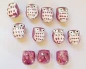 11 Purple Ceramic Owl Focal Beads/Destash