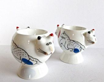 SALE Villeroy & Boch Animal Park CATS Eggcups Rosemarie Benedikt made in France - French Eggcups