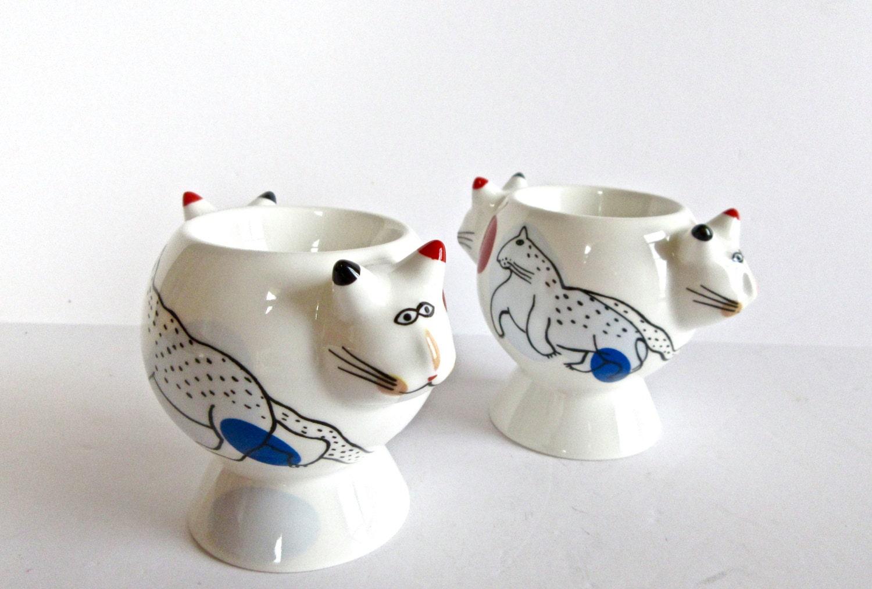 sale villeroy boch animal park cats eggcups rosemarie. Black Bedroom Furniture Sets. Home Design Ideas
