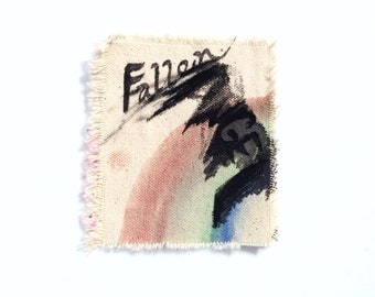 Fallen angel painted canvas art patch