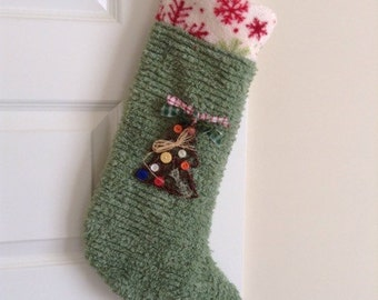 Rustic Farmhouse Christmas Stocking Chenille by Shuggie's Attic PRICE SLASHED