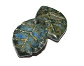 Ceramic Earring Charms Pair Rustic Stoneware Pottery Leaves