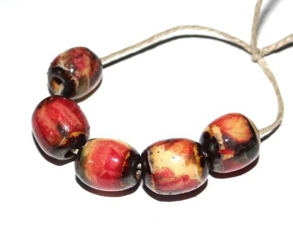 Ceramic Floral Beads
