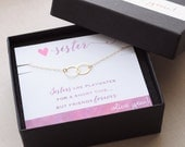 Sister Necklace - linked circles necklace - gold or silver - 1365