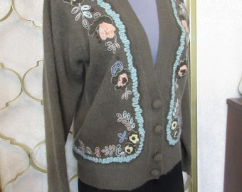 Vintage 60s Chenille Embroidered Cardigan Sweater Pin-Up Gray Angora Hong Kong