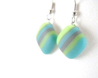 Blue and green stripes, glass drop earrings with stainless steel ear wires, silky matte fused glass, etched finish, striped
