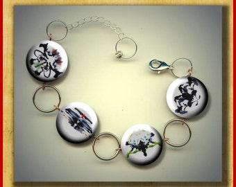 INK BLOTS Inkblots Rorschach Psychology Altered Art Button Charm Bracelet with Rhinestone