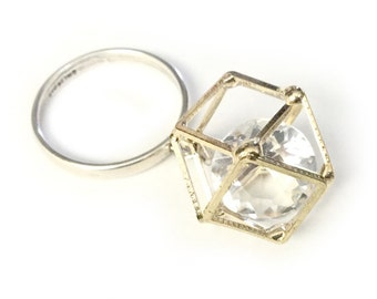 Tetradecagon Ring - Gold Plated and Sterling Silver Dangle Ring - Crystal 14-sided Cage Ring