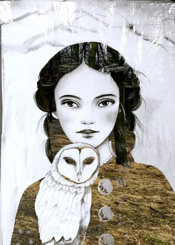 Maëlla and the owl art print