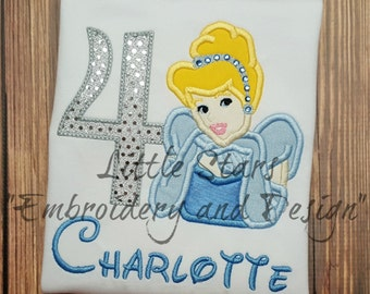 Cinderella Birthday Shirt with Number - Embroidered and Personalized Shirt - Colored shirts are Extra - Choose Number 1-9