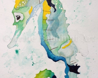 Watercolor print 8x10 from original painting of Seahorse, nautical watercolor art, seahorse wall decor, ocean life artwork,