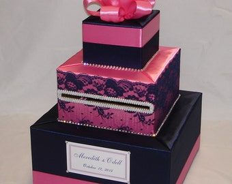 Elegant Navy Blue and Pink Wedding Card Box-Lace and Rhinestones