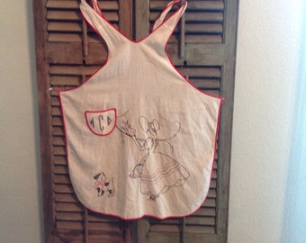Vintage Embroidered Child cotton Apron Sunbonnet Girl