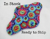 10 inch teen size Retro Rags cloth menstrual or mama pad - medium flow - blue tie tye peace sign flannel top - in stock and ready to ship