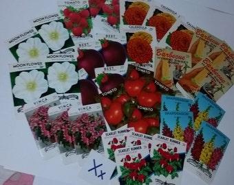 X ephemera variety lot 35 vintage unused flower vegetable seed packets packages NOS paper supplies