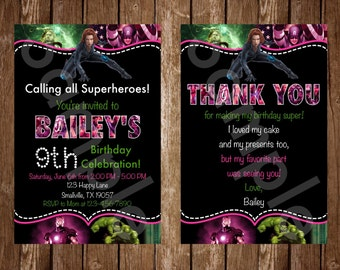 Pink Superheroes Avengers Birthday Invitation (SH04)