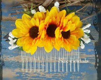 Silk mini sunflower hair comb bridal silk wedding flowers bridesmaid flower girl country rustic wedding accessory