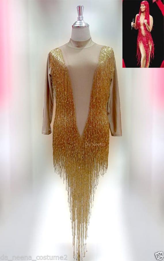 Cher Crystal Vegas Burlesque Leotard Bodysuit XS-XL