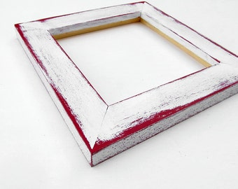 Distressed white frame - 6x6 square; hand-painted, lightly distressed, white and red picture frame, texture, layered, unique frame6x6