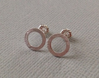 Tiny Circle Stud Earrings in Sterling Silver  -Silver Circle Post Earrings