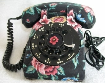 Vintage 1963 Northern Electric Working Desk Top Telephone Black Floral Decoupage