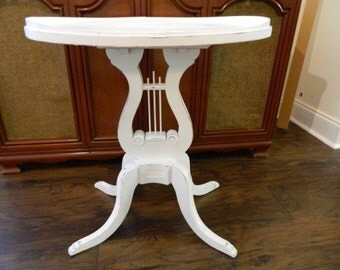 Vintage Wood Harp Table Lyre Side Table 1940s Accent Table Shabby Chic Table