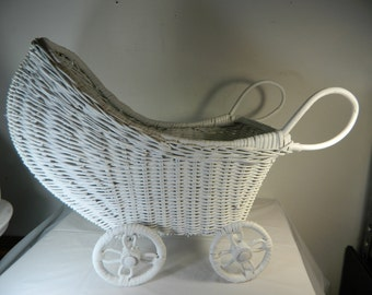 Vintage Wicker Doll Stroller Doll Carriage White Wicker Home Decor