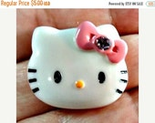 ON SALE 10 Girl Kitty w/ Pink Bow Pink Rhinestone Center Flat Back Embellishments 1 Inch Size.