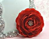 ON SALE 1 Ranunculus Flower / SOPHISCATED Collection-Swarovski Crystal Center Silk One Red Ranunculus Flowers Sparkle Flowers