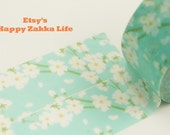 Sakura with Light Blue - Japanese Washi Masking Tape - 7.6 Yard